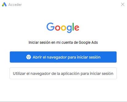 El menú de Acceso a Google Ads Editor utiliza un método de verificación para enlazarnos con nuestra cuenta de Google Ads mediante el navegador