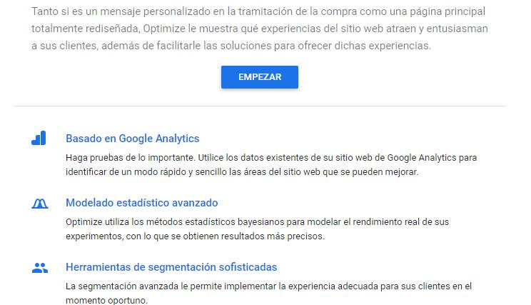 El primer paso para usar Google Optimize es crear una cuenta