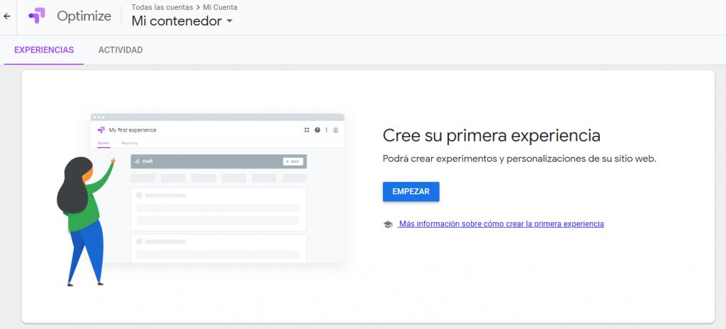 Creada la cuenta de Google Optimize, esta será la interfaz que nos encontraremos