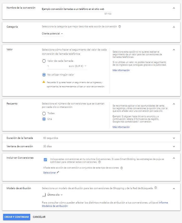 Podemos escoger si queremos contabilizar nuestras llamadas desde Google Ads o no, en función de nuestra estrategia