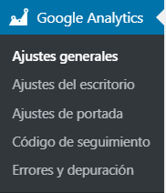 Google Analytics Dashboard for WP nos crea un nuevo menú en Wordpress