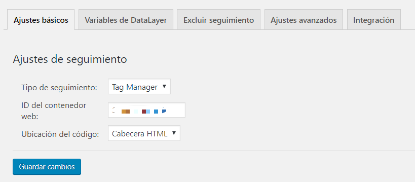 Con una interfaz muy simple, este plugin permite instalar el script de Tag Manager o de Analytics con un simple cambio en el menú deslizante.