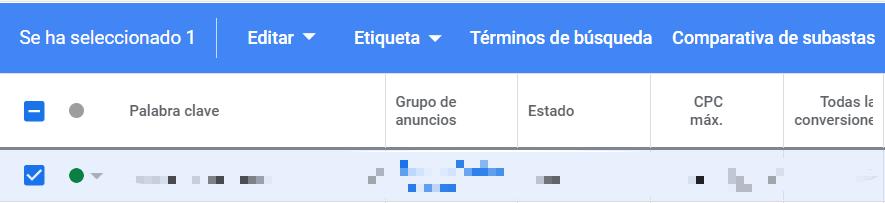 A nivel de palabra clave Google Ads nos permite analizar la comparativa de subastas de 3 formas distintas