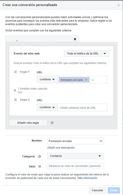 Haciendo clic en crear conversión personalizado sale la siguiente ventana, que inicia el proceso