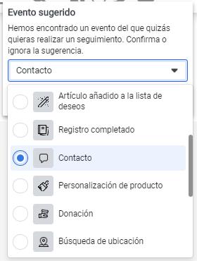 Como vemos aquí, Facebook detecta automáticamente un botón de contacto y nos recomienda el evento Contacto.