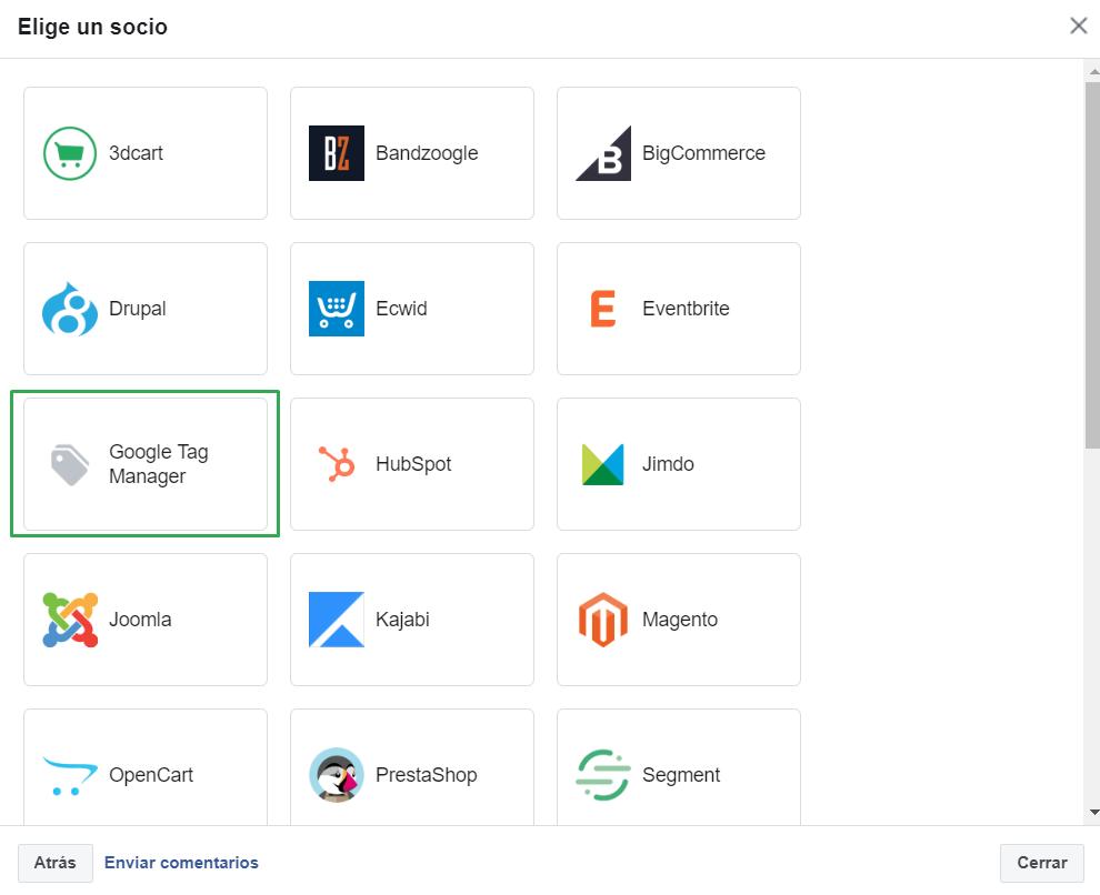 Añadir el código del píxel de Facebook mediante la integración con socios