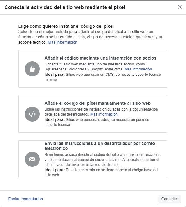 Opciones para instalar el código del Píxel de Facebook