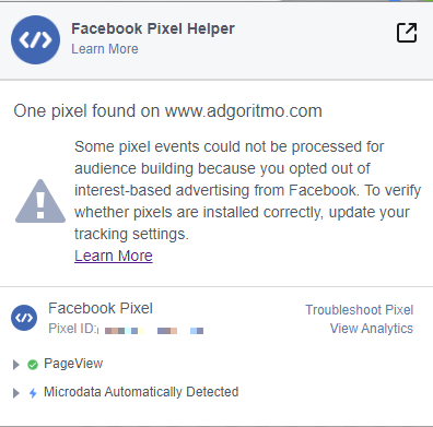 xtensión de Chrome Facebook Pixel Helper