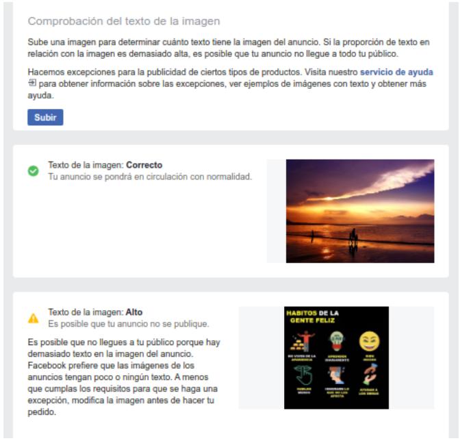 Otro interesante tip es usar la herramienta text overlay de Facebook para saber si las imágenes escogidas tienen demasiado texto o no.