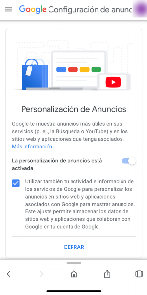 Ver nuestro perfil para google y modificarlo: paso 3. personalización de anuncios