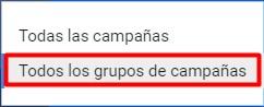 Grupos de campañas en Google Ads